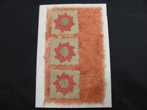 (FLR 42) Three Orange Flowers Handmade Greeting Card