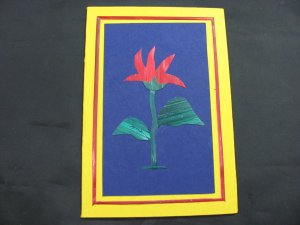 (FLR 20)  Wheat Straw Red Tropical Flower Handmade Greeting Card