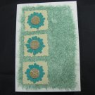 (FLR 40) Three Teal Flowers Handmade Greeting Card