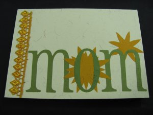 """(MOM 03) """"Mom"""" Mother's Day Gold & Green Handmade Greeting Card"""