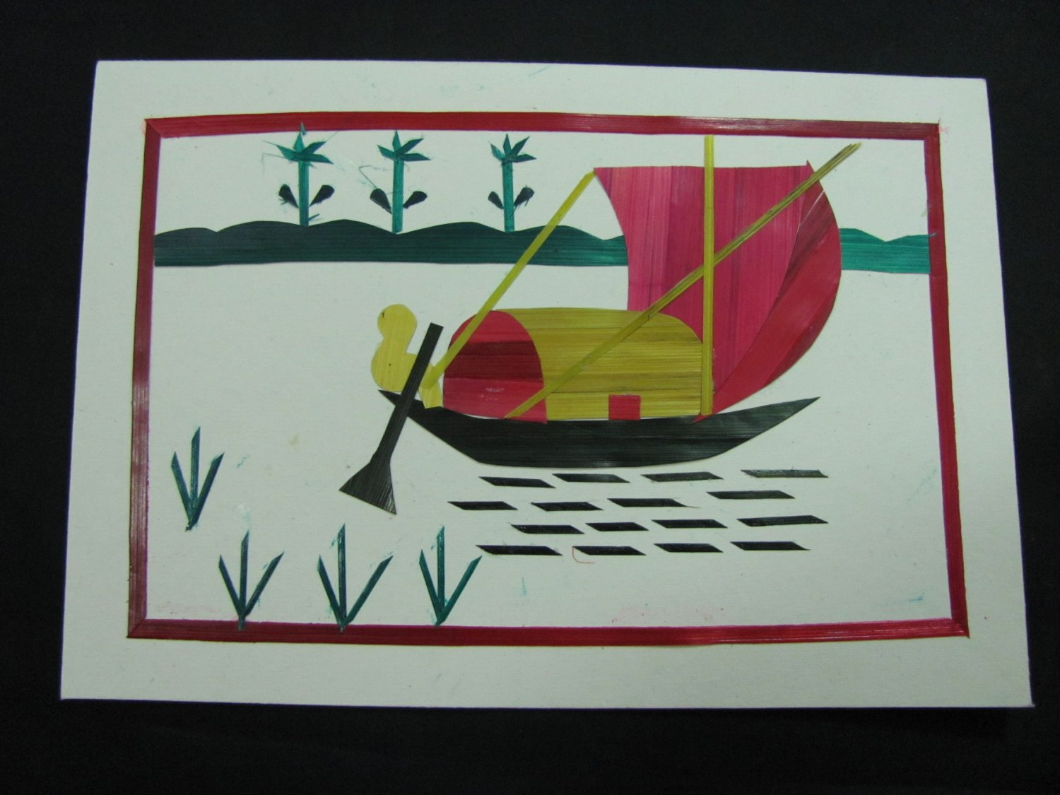 (BB 01)  Bengali Boat Wheat Straw Handmade Greeting Card