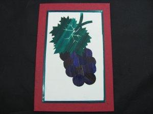 (FRT 03)  Wheat Straw Grapes & Leaves Handmade Greeting Card