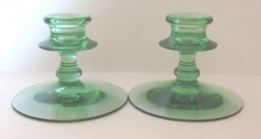 Better Green Glass Short Candlesticks