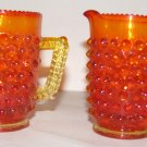 Fenton Amberina Hobnail Mini Pitchers, Set of 2