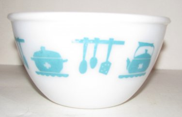 Vintage Turquoise Hazel Atlas Bowl Utensil Pattern