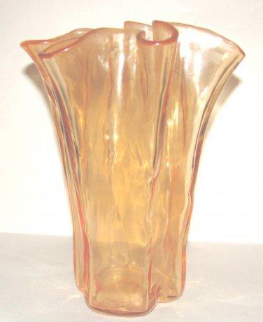 Muurla Finland 8 inch  Handkerchief Vase Orange w Label