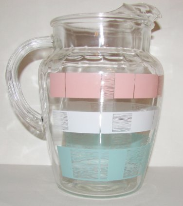 Vintage Retro Anchor Hocking Pitcher Pink and Turquoise Pattern