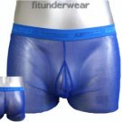 New Men's Sexy Stretch Boxer Underwear C-Thru Blue Lingerie #BX136