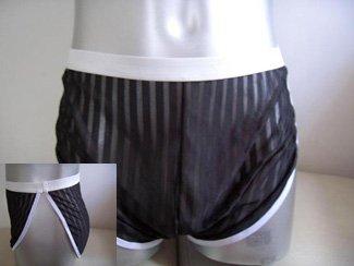 Men's Sexy C-Thru Black Lingerie Boxer Underwear #BX96