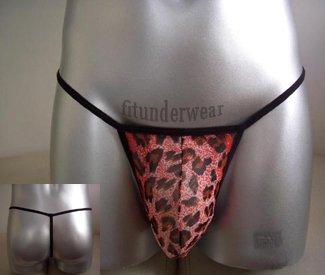 Men's Sexy G-String Underwear Leopard Red Dessous #GT28