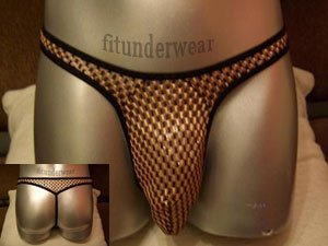 Men's Sexy Gold Checker Thong Underwear S-L #TH03