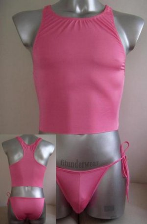 Men's Sexy Stretch Brief Bodysuit pink underwear #BD46