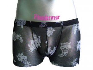New Men's C-thru Image Print Boxer Lingerie #BX02