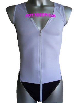 Men's Sexy Stretch Bodysuit Open Chest w/Zip W/B#BD108