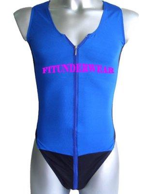 New Men's Sexy Stretchy Bodysuit Underwear Open Chest w/Zip Blue Dessous #BD107