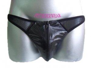 Men's Sexy Brief Leather w/Zip C-Thru Underwear #BR127