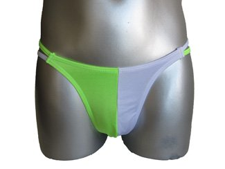 New Men's Sexy Thong Underwear Neon Green & White Lingerie #TH151