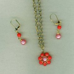 Coral Wrapped Flower Set