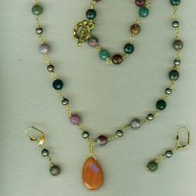 Faceted Tourmaline Wrapped 3pc Set