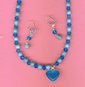 Turquoise Cat's Eye Heart Set