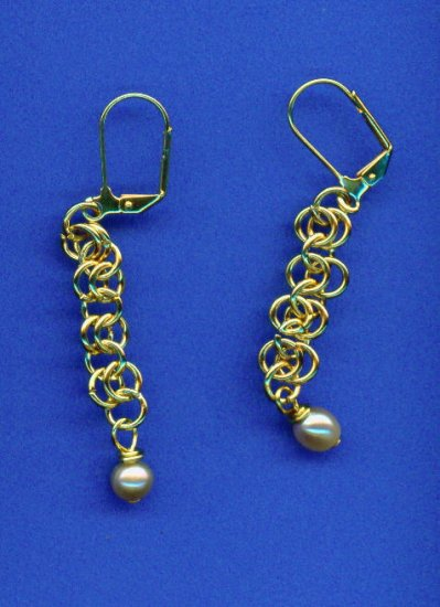 Chain Maille and Pearl Earrings