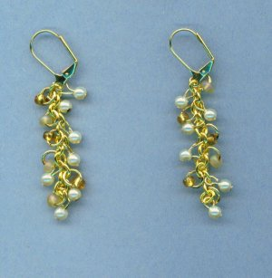 Tiny Pearl and Seed Bead Dangle Earrings