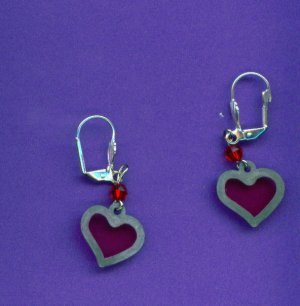 Pewter Stain-glass Heart Earrings
