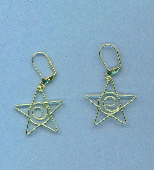 Gold Wire Star Earrings