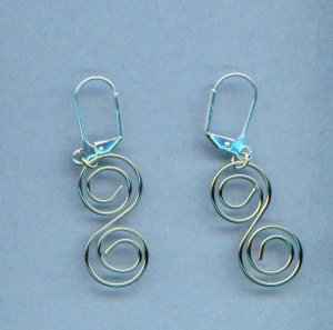 Silver-toned 'S' Spiral Wire Earrings