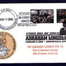 USS ABRAHAM LINCOLN CVN-72 FDC Lincoln Stamps Naval Cover ONLY 5 MADE