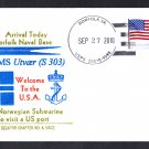 Norway Submarine Cover HNoMS UTVAER S-303 1st Norwegian Sub Visit to US