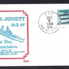 Guided Missile Destroyer USS JOUETT DLG-29 Commissioning BECK #B693 Naval Cover