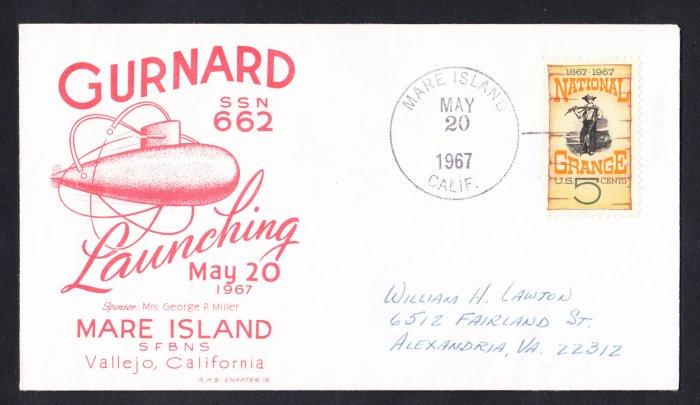 USS GURNARD SSN-662 Launching Naval Cover