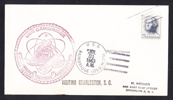 USS BAINBRIDGE DLGN-25 Charleston SC Naval Cover