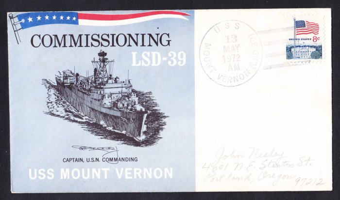 USS MOUNT VERNON LSD-39 Commissioning Naval Cover