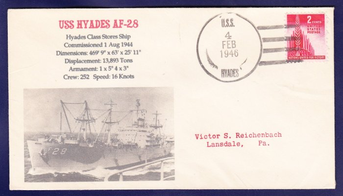 USS HYADES AF-28 FANCY CANCEL 1946 Naval Cover MHcachets ONLY 1 MADE