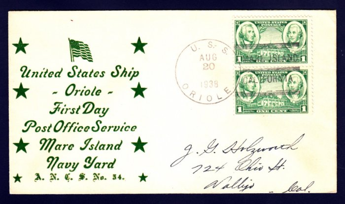 USS ORIOLE AM-7 FDPS 1938 Naval Cover