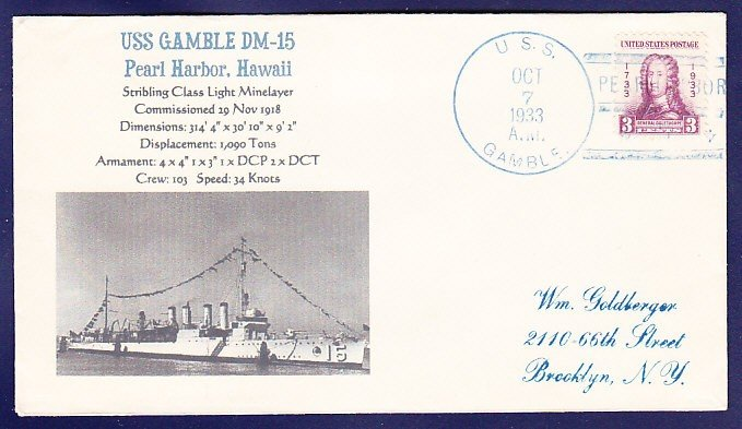 USS GAMBLE DM-15 Pearl Harbor 1933 Naval Cover MHcachets ONLY 1 MADE