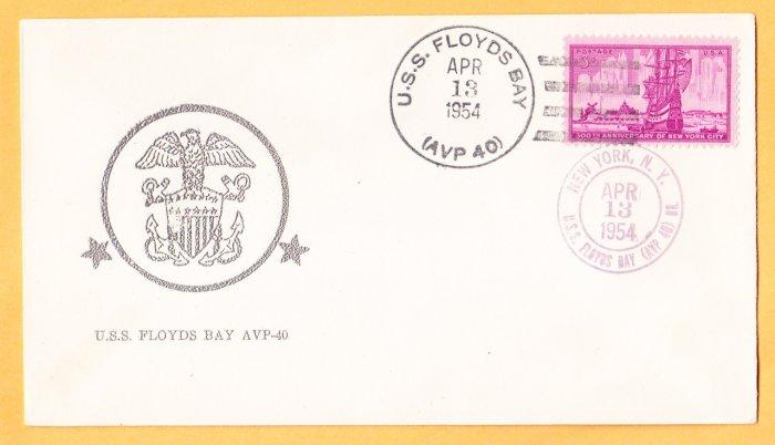 USS FLOYDS BAY AVP-40 1954 Naval Cover