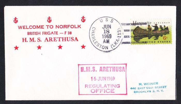 HMS ARETHUSA F-38 Norfolk VA Royal Navy Ship Cover