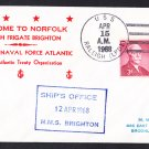 HMS BRIGHTON F-106 NATO Visit Norfolk VA Royal Navy Cover