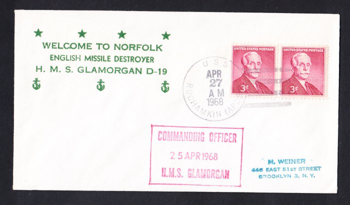 HMS GLAMORGAN D-19 Visit Norfolk VA Royal Navy Ship Cover