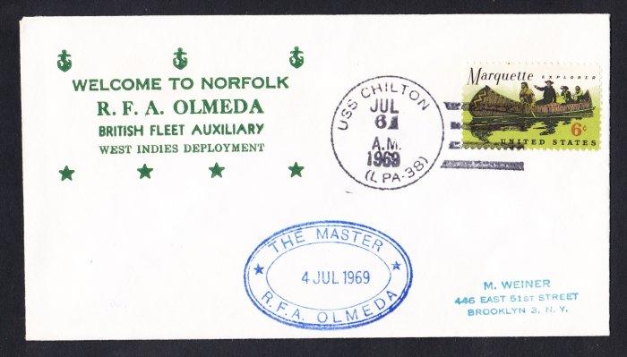 RFA OLMEDA A-124 Visit Norfolk VA Royal Navy Ship Cover