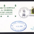 RFA OLMEDA A-124 Visit Norfolk VA Royal Navy Ship Cover