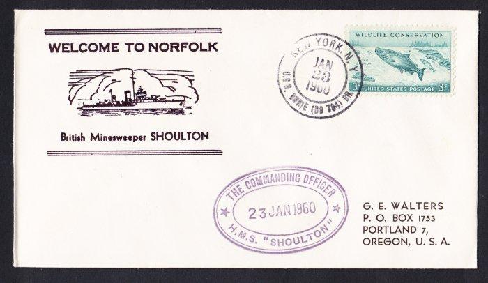 HMS SHOULTON M-1182 Visit Norfolk VA Royal Navy Ship Cover