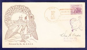 USS PENNSYLVANIA BB-38 Thanksgiving 1933 Naval Cover