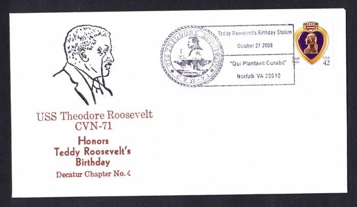 USS THEODORE ROOSEVELT CVN-71 Teddy Roosevelt's Birthday Naval Cover