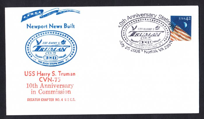 USS HARRY S. TRUMAN CVN-75 Commissioning Anniversary Naval Cover