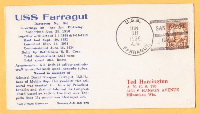 USS FARRAGUT DD-348 San Diego CA 1936 Naval Cover