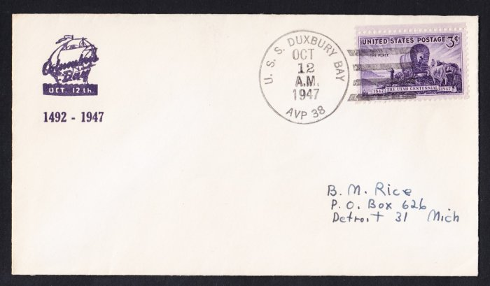 USS DUXBURY BAY AVP-38 Columbus Day 1947 Naval Cover